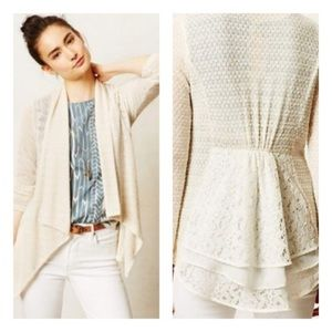 Anthropologie Clu & Willoughby Cream Lace Cardigan